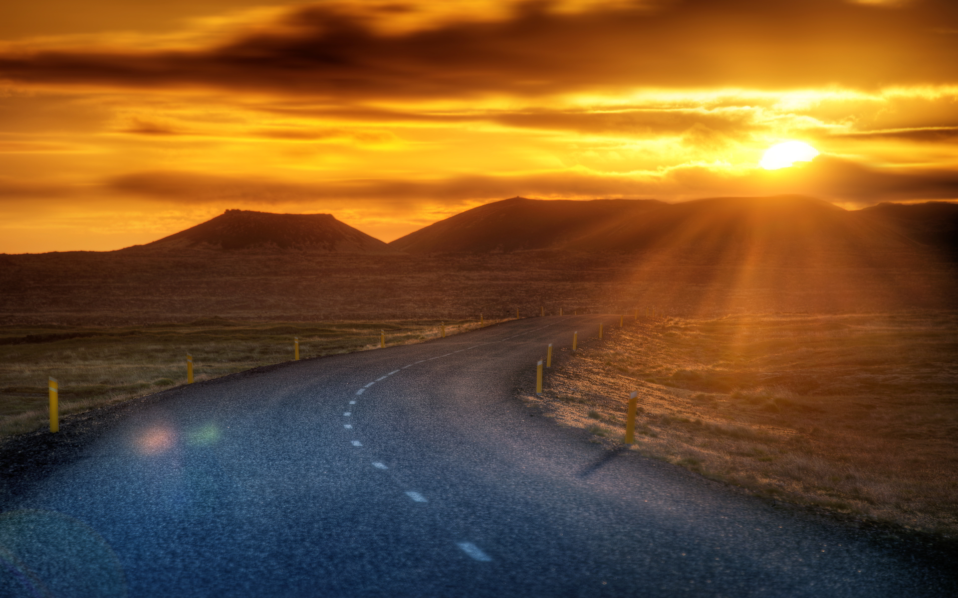 mountain sunset wallpaper nature