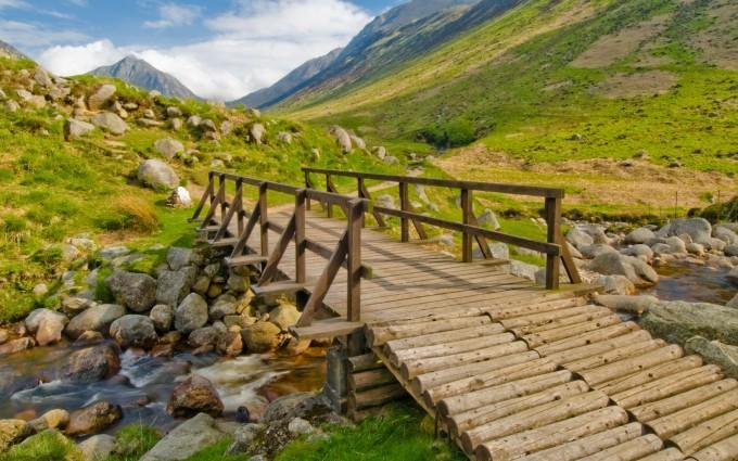 mountain wallpaper bridge
