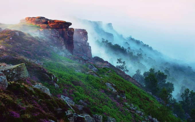 mountain wallpaper fog