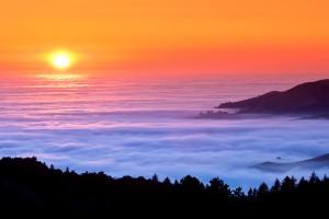 ocean sunset wallpaper fog