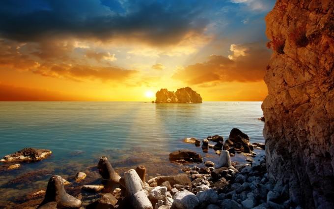 ocean sunset wallpaper uhd