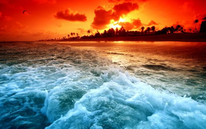 ocean wave wallpapers sunset