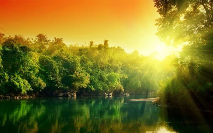 river sunset forest