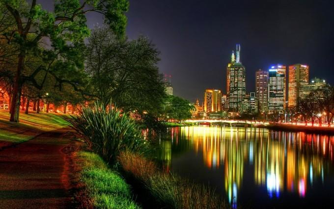 river wallpaper city