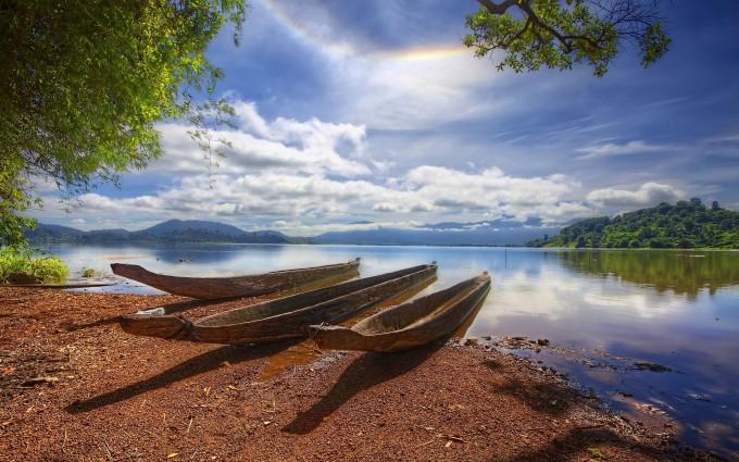 riverbank wallpaper boats