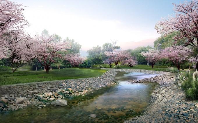 spring wallpaper river