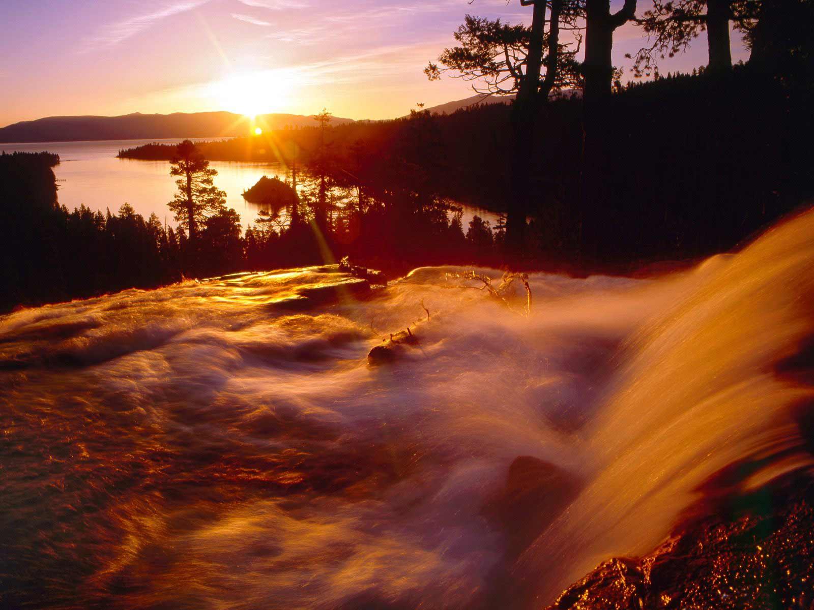sunrise wallpaper waterfall