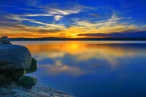 sunset desktop blue