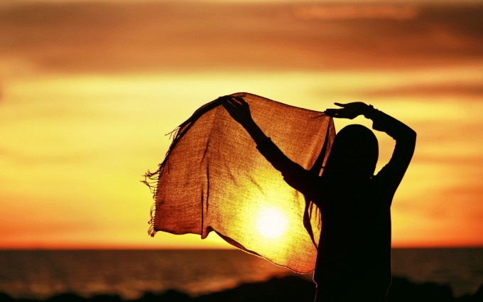 sunset images girl hd