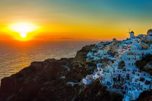 sunset images greece