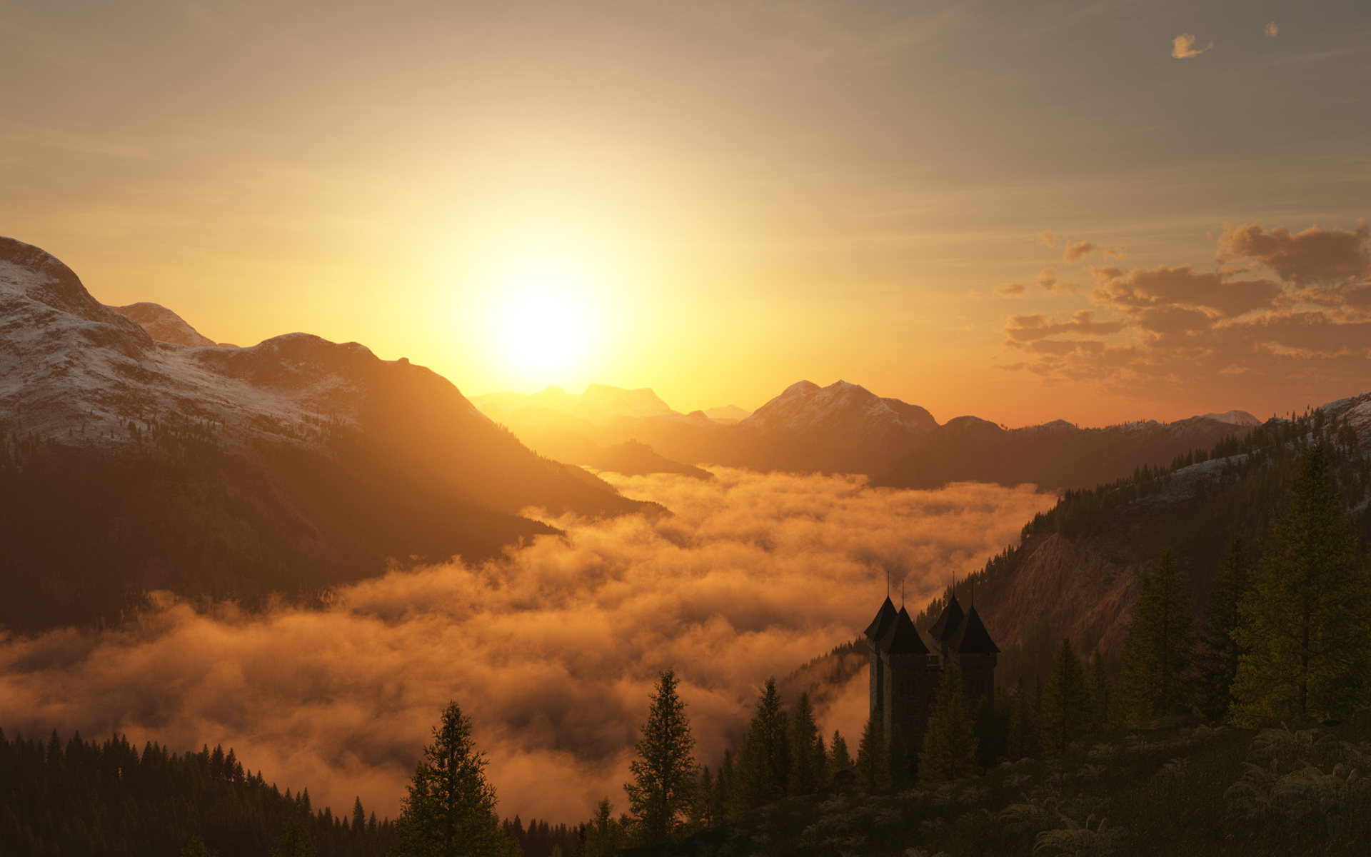 sunset images mountains