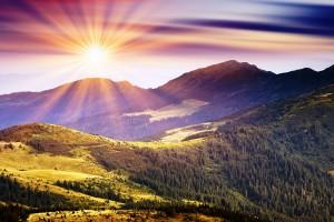sunshine wallpaper mountains