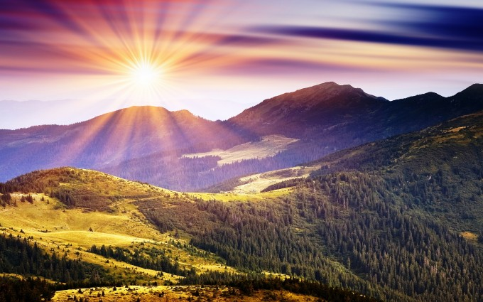 sunshine wallpaper mountains