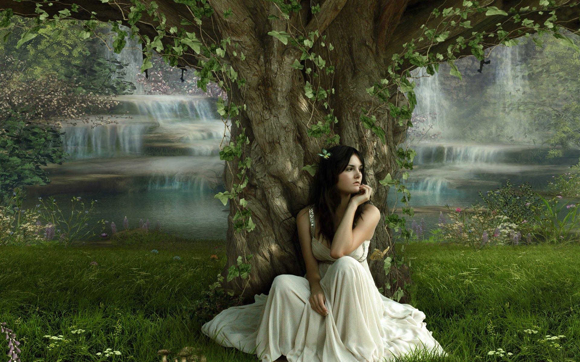 tree wallpaper girl hd