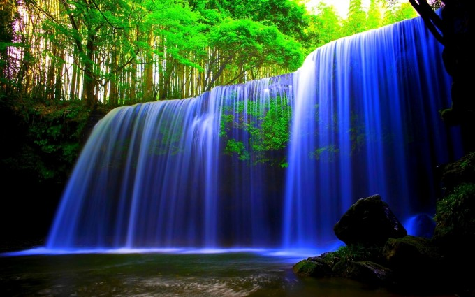 waterfall wallpaper blue