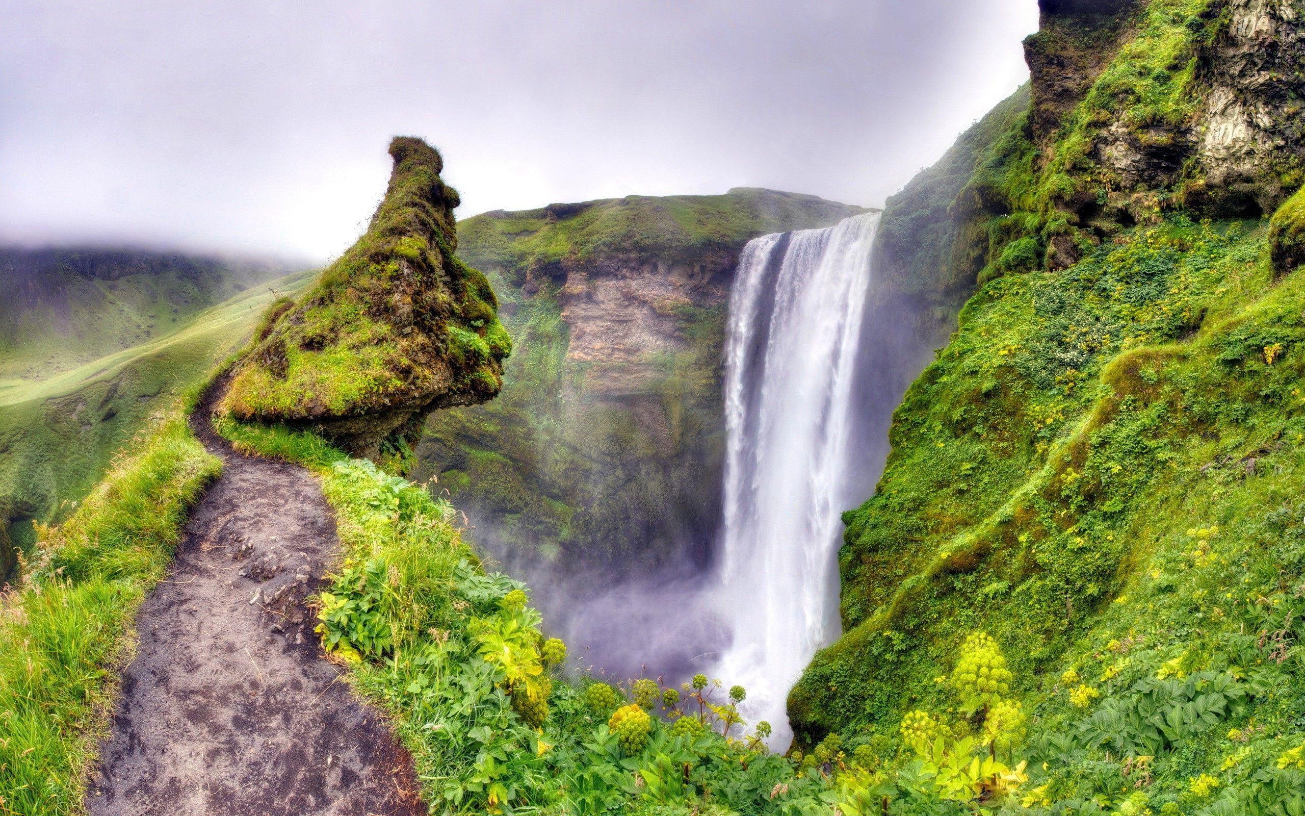 waterfall wallpaper green moss