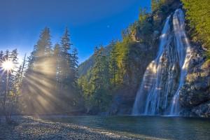 waterfalls wallpaper sunrise