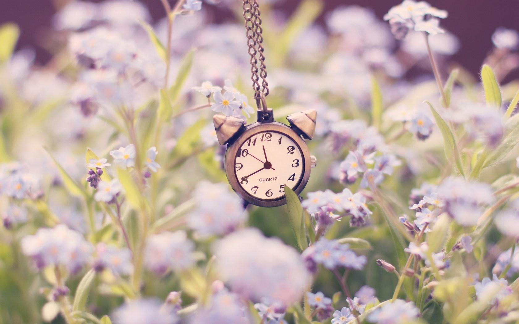 clock alarm chain flowers nature