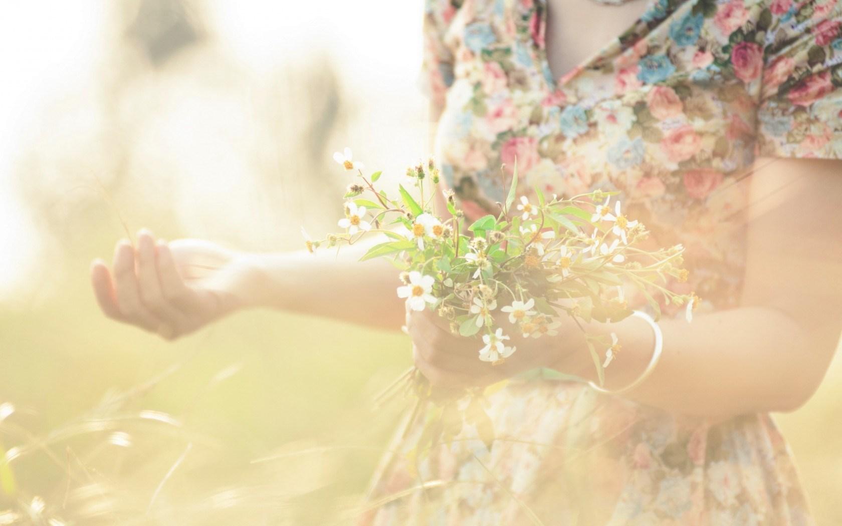 girl flowers summer mood