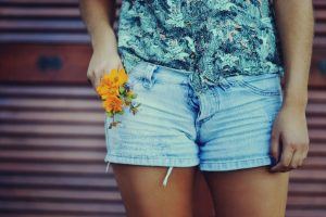 girl shorts flowers photo