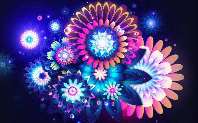 neon flowers cute