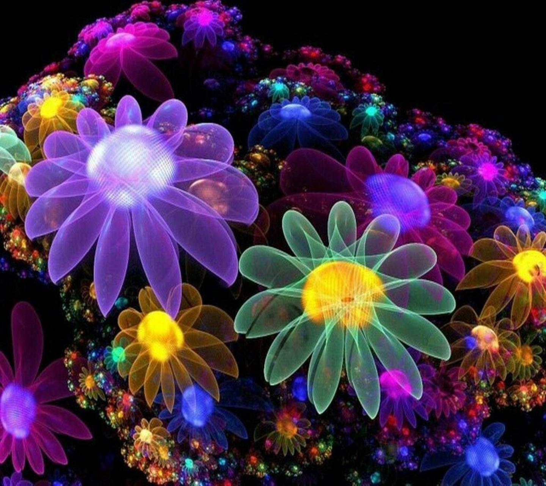 neon flowers hd