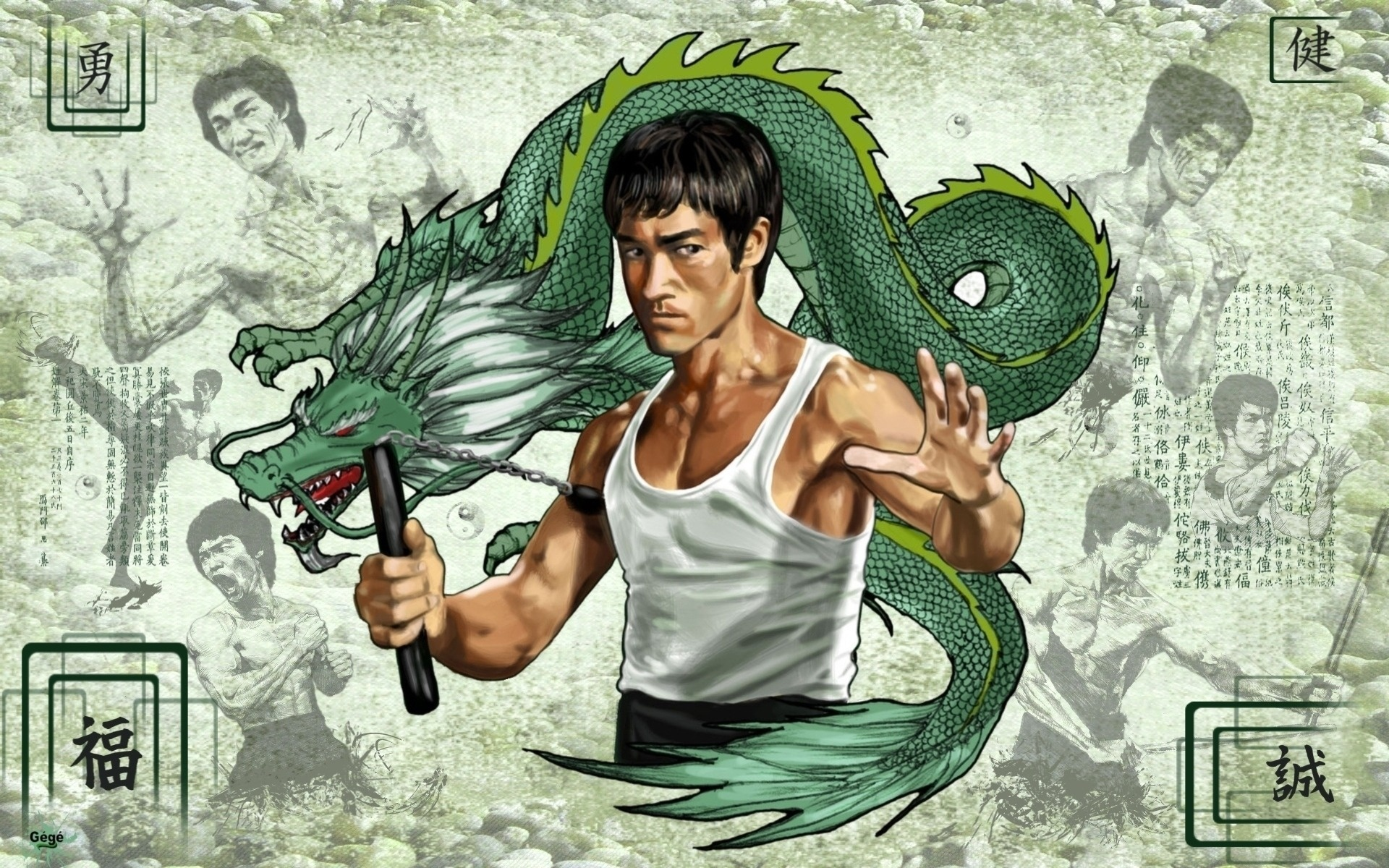 Bruce Lee Wallpapers HD green dragon cartoon