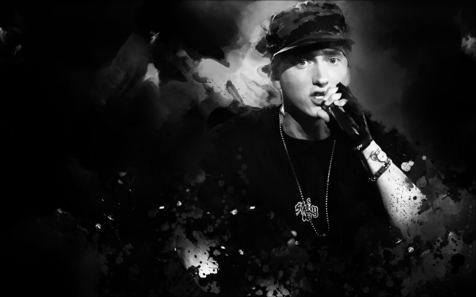 Eminem Wallpapers HD black and white necklace