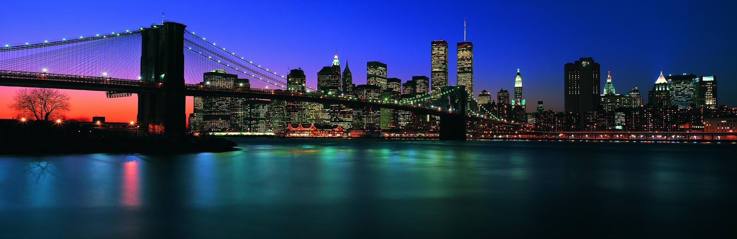 Free New York City Brooklyn Bridge panorama night lights USA America HD Desktop wallpapers backgrounds wall murals downloads A11