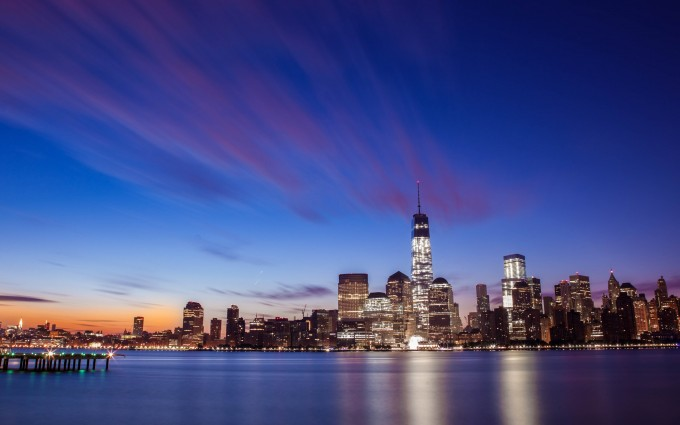 Free New York City Skyline Night Life lights USA America HD Desktop wallpapers backgrounds wall murals downloads A20
