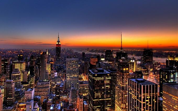 Free New York City Skyline Night Life lights USA America HD Desktop background wallpapers wall murals downloads A24