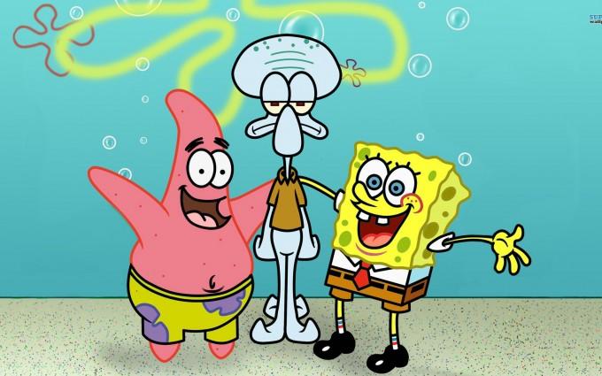 SpongeBob SquarePants wallpapers HD cyan background