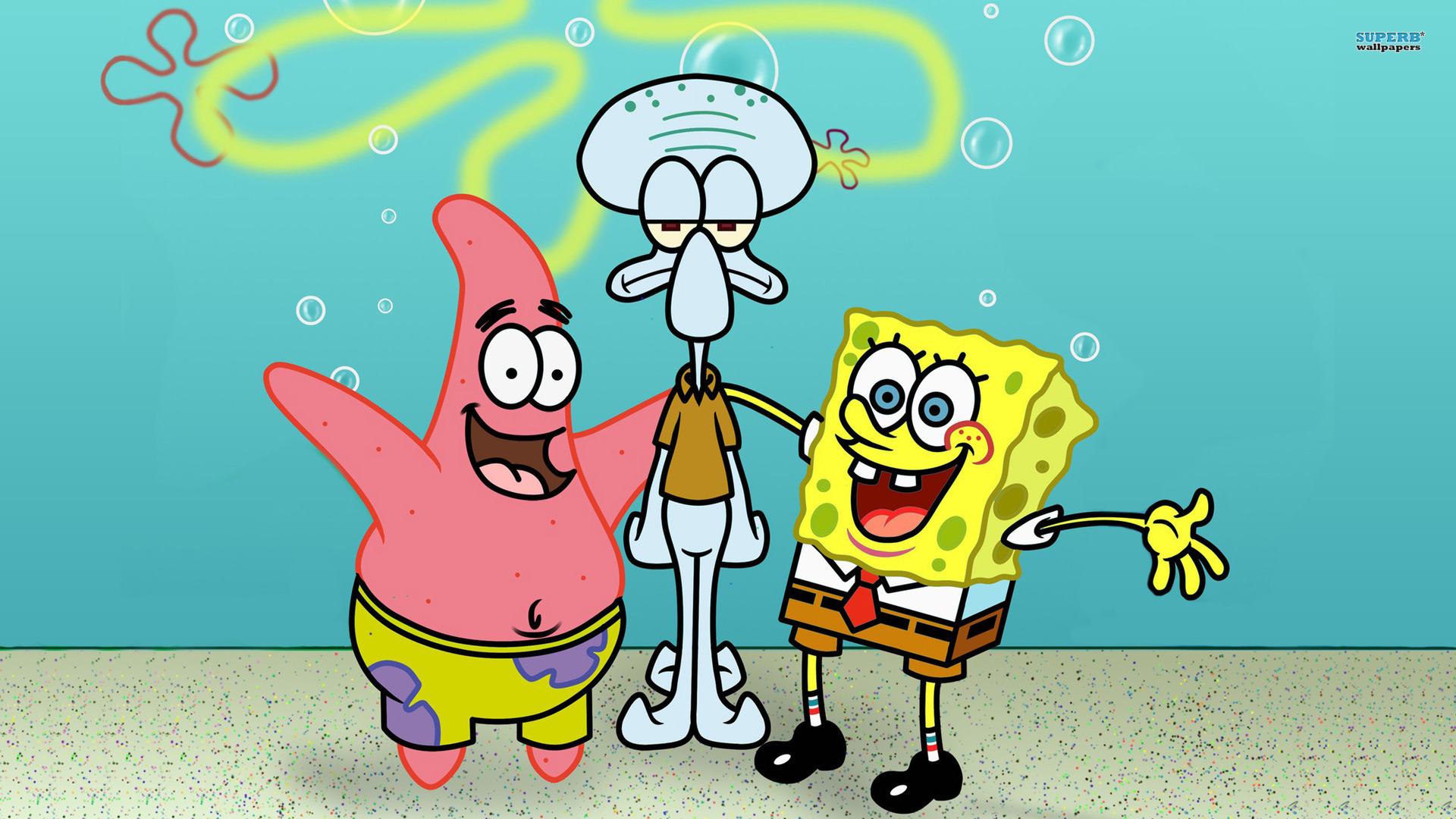 SpongeBob SquarePants wallpapers HD cyan background