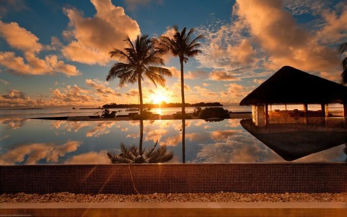 sunset beach wallpaper resort 2