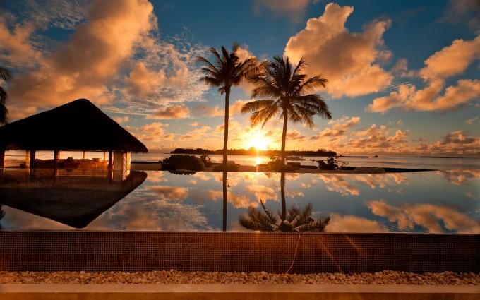 sunset beach wallpaper resort