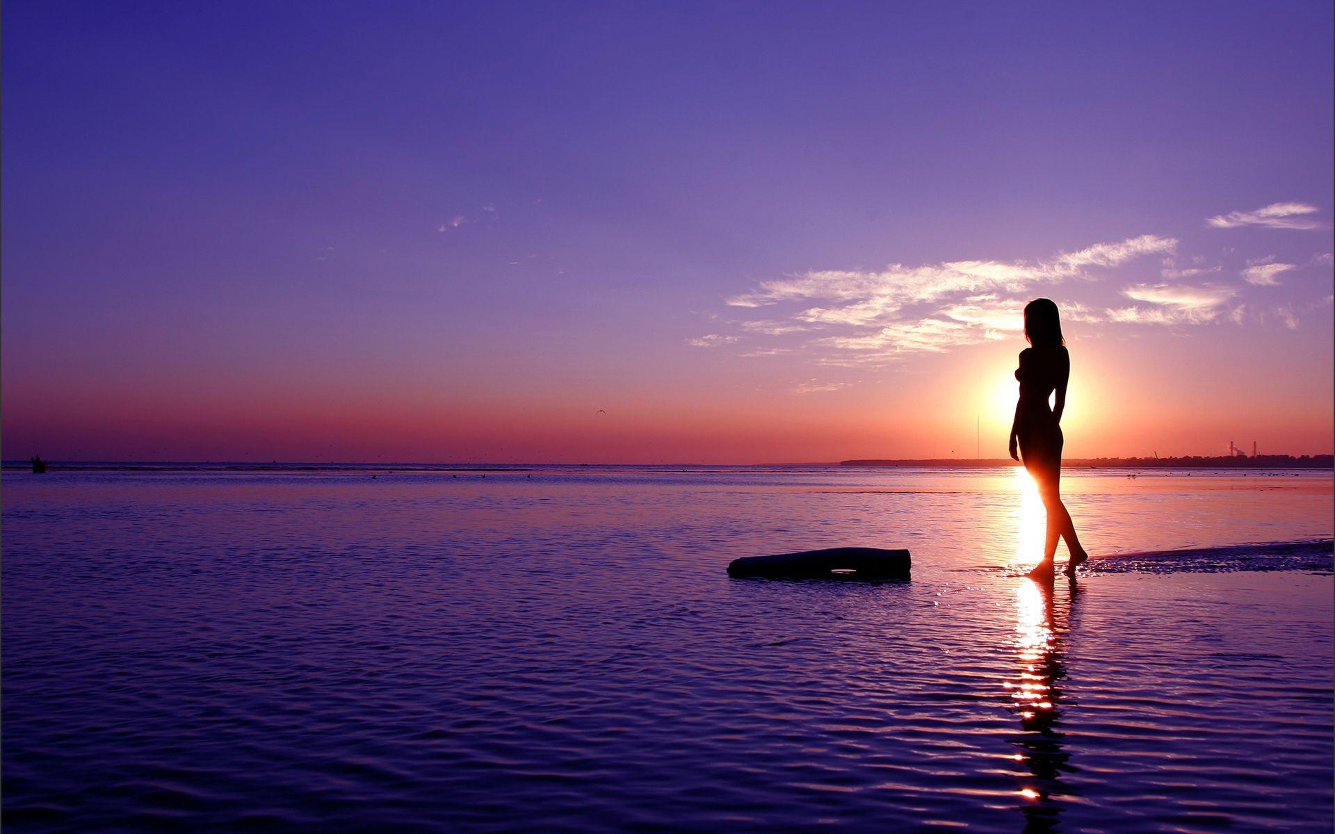 beach sunset wallpapers hot girl