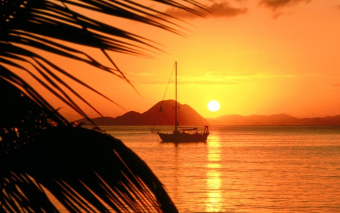 sunset beach wallpapers boat