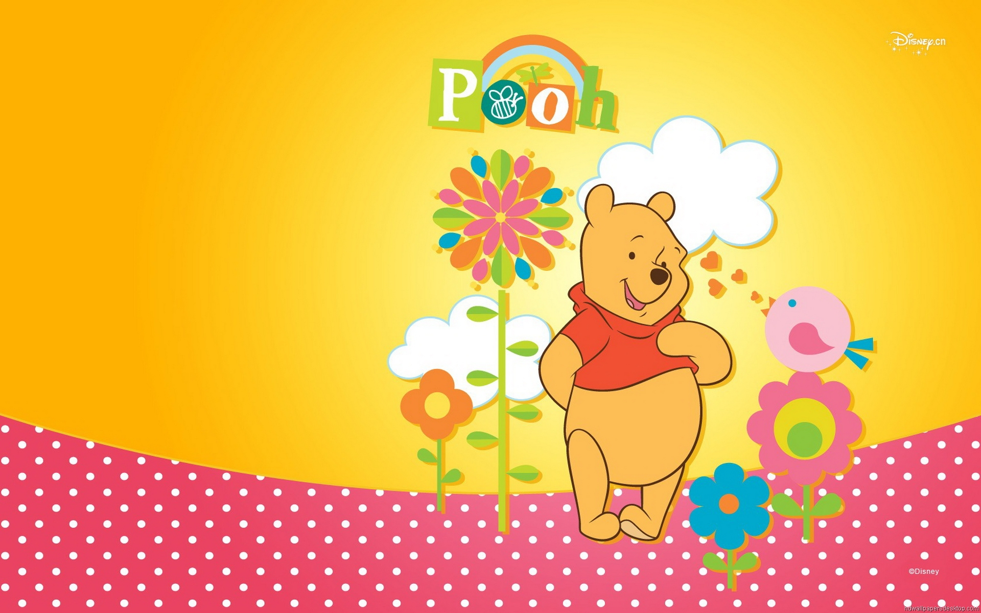 Winnie The Pooh Wallpapers HD pink dots