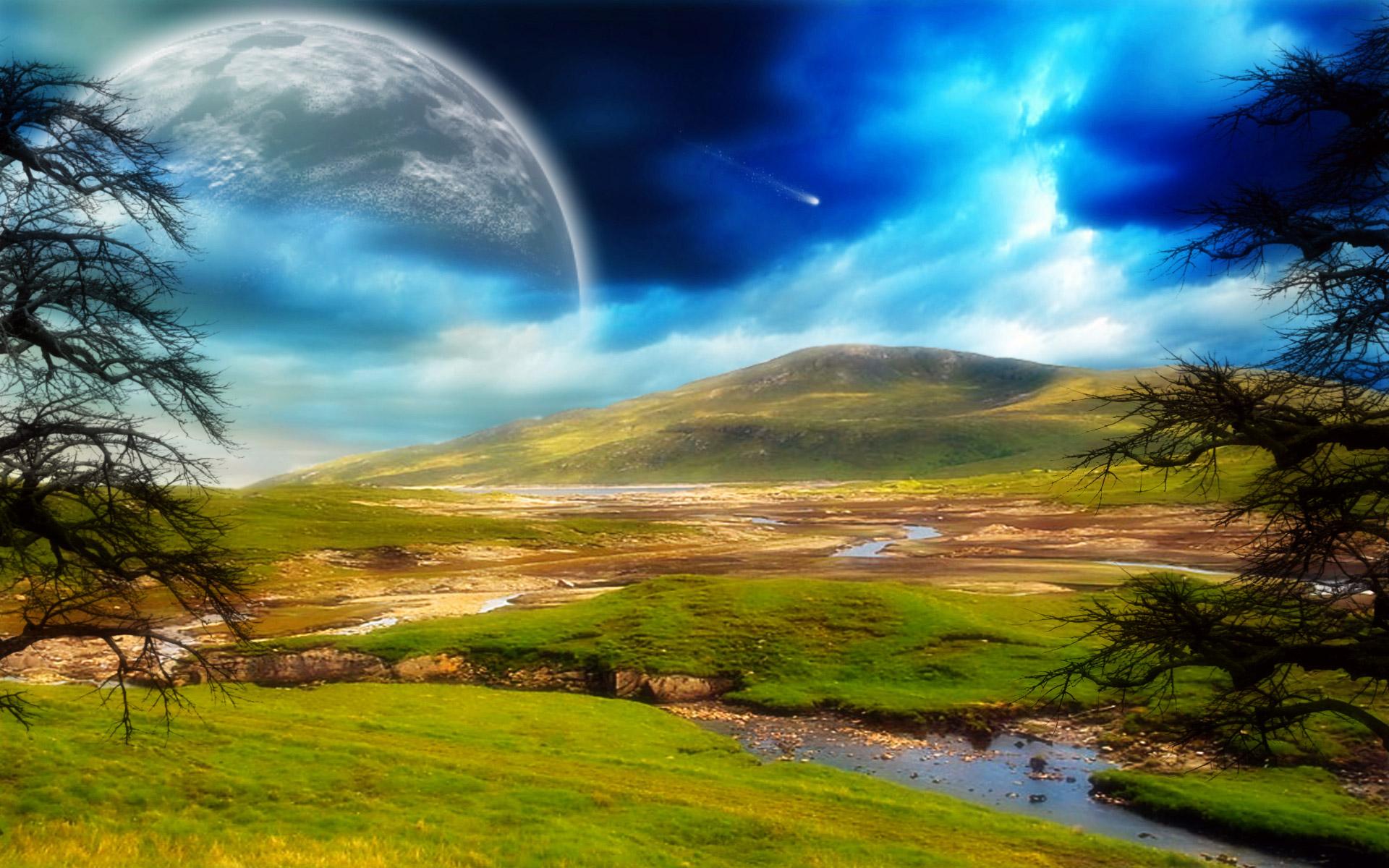 moon landscape wallpaper