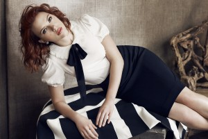 scarlett johansson wallpapers HD dark blue skirt