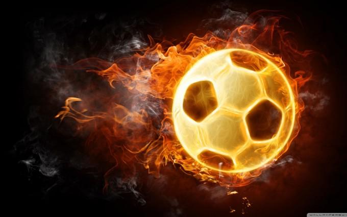 soccer ball wallpaper fire