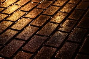 brick wallpaper wet