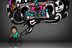 music wallpaper doodle