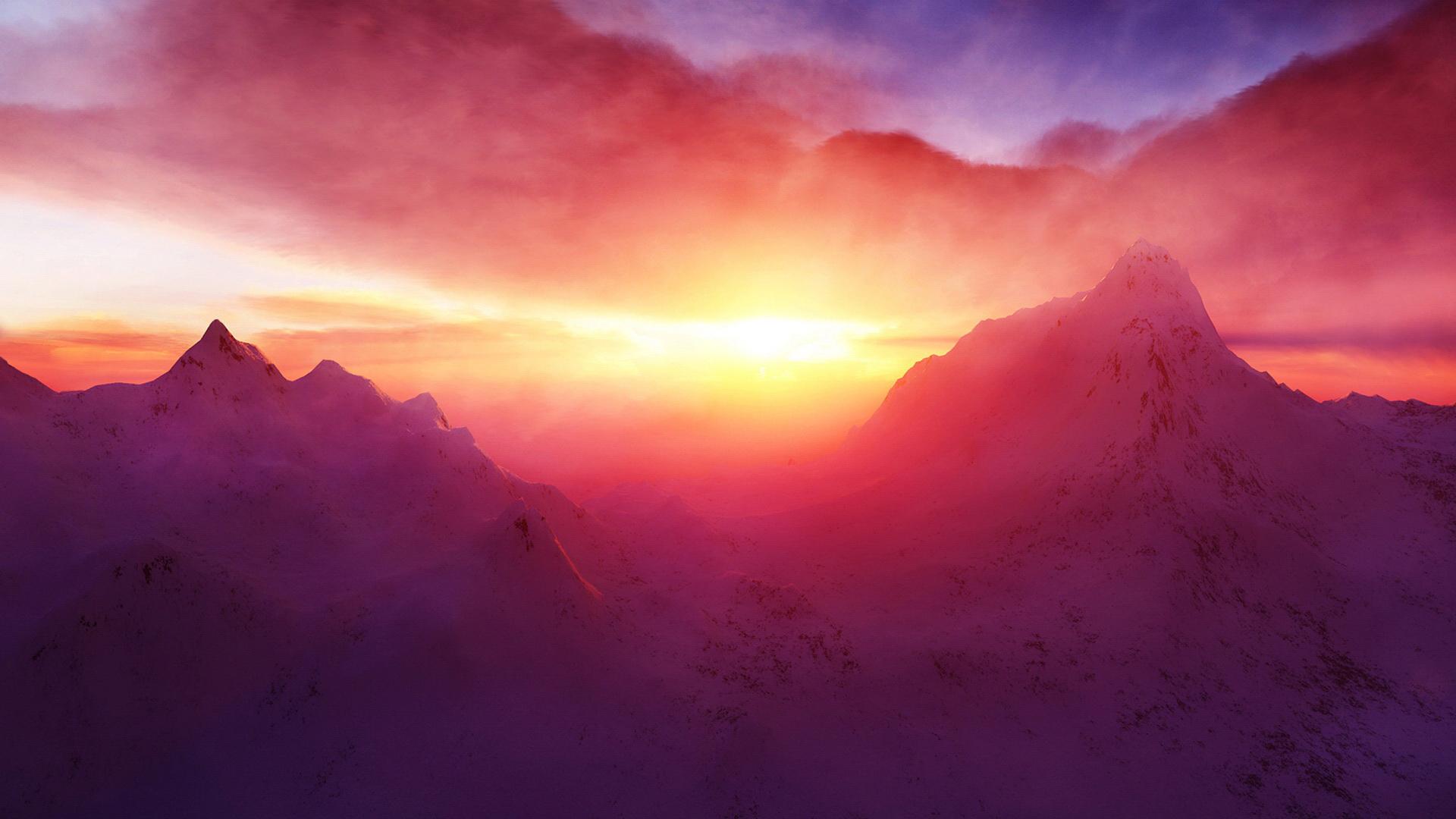 snow wallpaper sunset beautiful