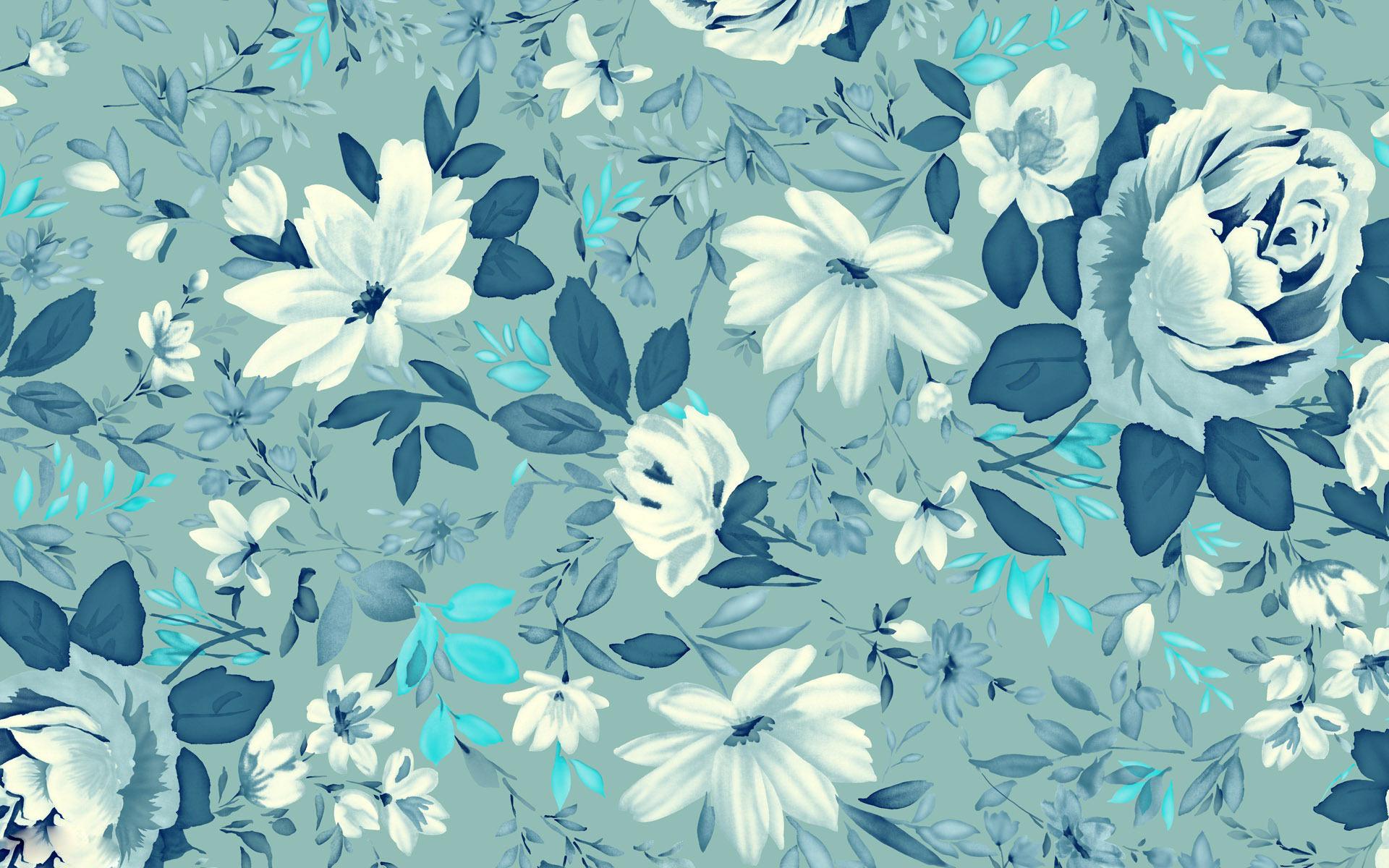 Vintage Wallpaper Floral Blue Hd Desktop Wallpapers 4k Hd