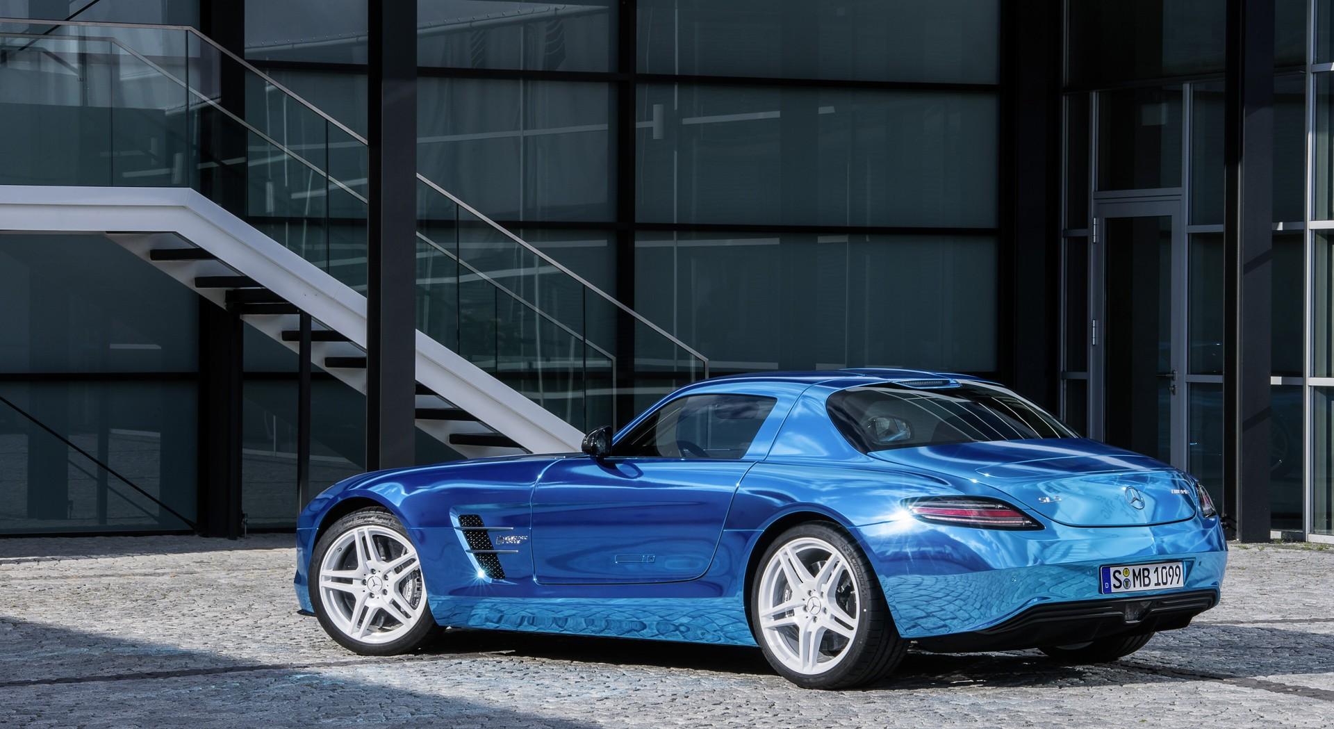 Mercedes benz sls amg blue back hd desktop wallpapers for Blue mercedes benz