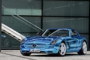 mercedes benz sls amg blue front