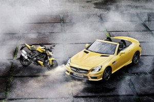 mercedes slk yellow bike