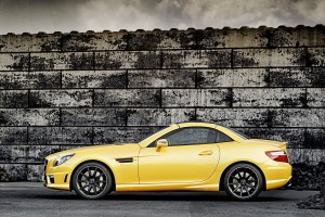 mercedes slk yellow coupe