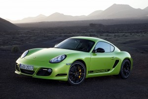 porsche cayman r green car